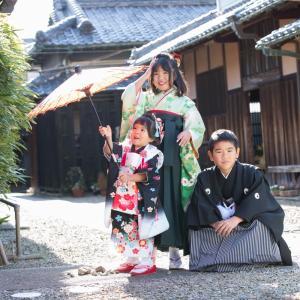 三人こども和装の七五三  兵庫県出張撮影、大阪出張撮影、七五三出張撮影