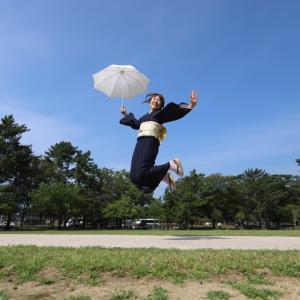 真夏に夏着物でロケーション撮影!