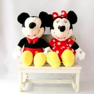 ミッキー&ミニー フルボディ ポーチ ぬいぐるみ 木製ベンチ付き