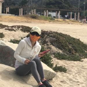 肌寒いビーチのお散歩