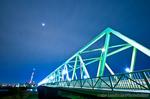 月夜の木根川橋と東京スカイツリー(東京都葛飾区東四つ木)