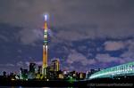 木根川橋と東京スカイツリー夜景(東京都葛飾区東四つ木)