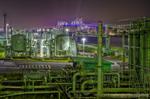 東京都排水処理場と東京ゲートブリッジ夜景【HDRi】(東京都江東区青海 中央防波堤内側埋立地)