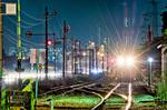 京葉臨海鉄道と工場夜景【HDRi】(千葉県市原市五井海岸)