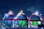 AGCタンクの工場夜景(千葉県市原市五井海岸)
