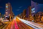 首都高入谷出入口の光跡(東京都台東区北上野)