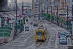 高岡駅前末広町通りの路面電車風景【HDRi】(富山県高岡市下関町)