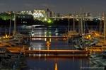 東京夢の島マリーナと東部スラッジプラント夜景(東京都江東区夢の島)