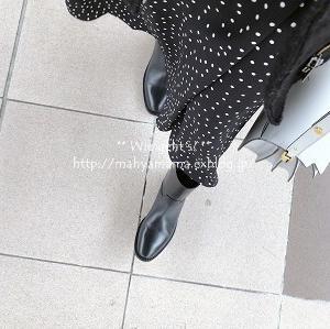 ◆コーデ◆ GU ドットスカート × Saint Laurent  ブーツ × Marni トランク