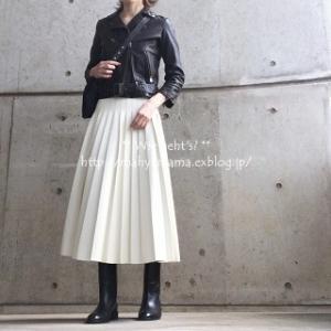 ◆コーデ◆ bp ライダース × LE CIEL BLEU 白プリーツSK × Saint Laurent ブーツ