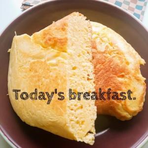 豆乳パンケーキの朝ごパン