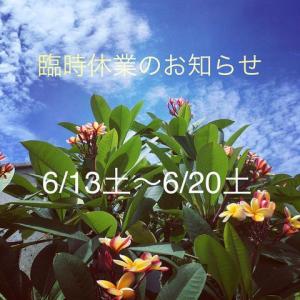 6/13(土)~6/20(土) 臨時休業です