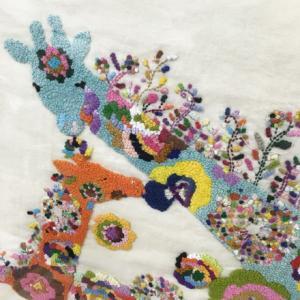『どうぶつたちの花時間』、刺繍になる。