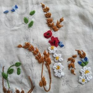 途中経過☆アルファベットAの花刺繍