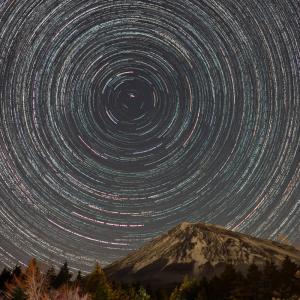 富士山と星の軌道