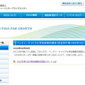 VECによるベンチャーキャピタル等投資動向調査 2020年1月~3月