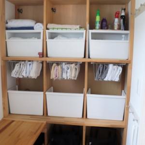 脱衣・洗濯室をつなぐ収納の見直し