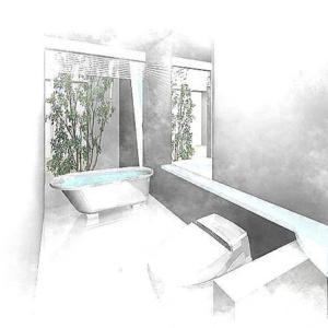 住まいの暮らしの設計デザインの事色々と・・・暮らしの水まわり空間・バルス―ム・トイレ・洗面を一体化して連続性のある空間ガラス張りの空間に坪庭・中庭の工夫で快適な場所に。