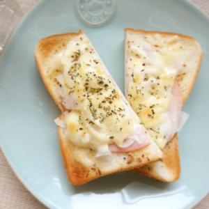 「ハムとオニオンスライスのチーズトースト」 ~ バルミューダのトースターで初めての調理パン ~