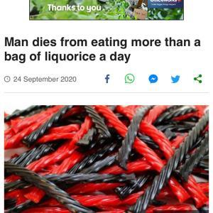 リコリスの食べ過ぎで死亡例