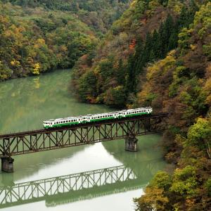 錦秋の只見線 @雨上がりの頃の第三橋梁