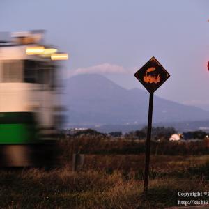 錦秋の只見線 @汽車マークの道路標識とキハ