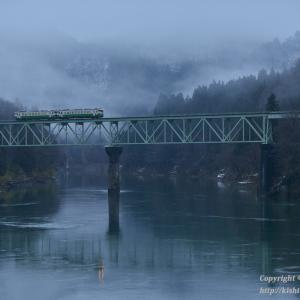 暖冬の只見線 第二橋梁