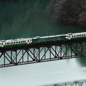 暖冬の只見線 第三橋梁と三連キハ