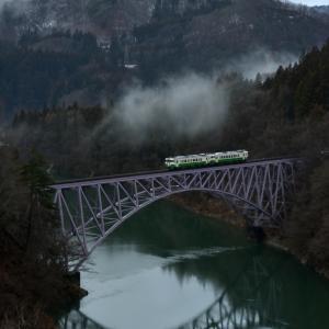 暖冬の只見線 雨上がりの第一橋梁