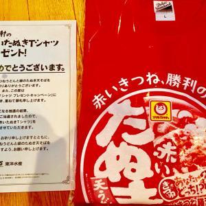赤いたぬきTシャツとバスタオル