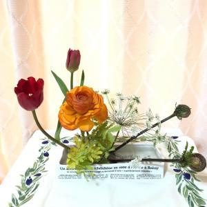 2月のお花の定期便 - 赤いチューリップとオレンジのラナンキュラス