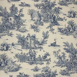 爽やかブルーのトワルドジュイが使われたインテリア&洋服