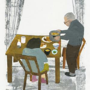 挿し絵の仕事 新聞連載 「未踏の老いを生きる 09」