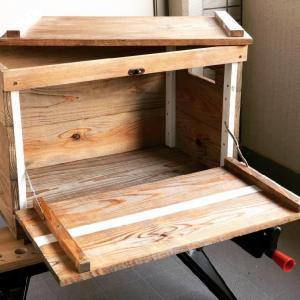 【キャンプ道具自作】キッチンツール収納の木箱を杉の野地板で作ってみた