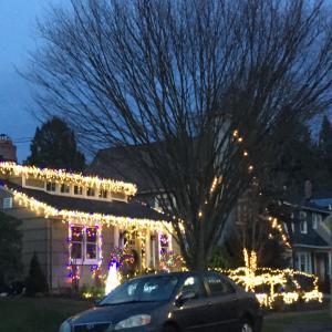 住宅街のクリスマスライト/ファーマーズマーケット