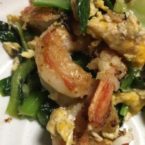 薬膳と発酵☆海老と小松菜と卵の炒めもの