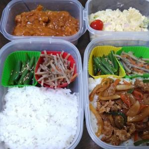 チキンカレーと豚肉と野菜の麻婆炒めのお弁当