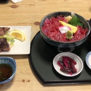 寿司吉(中おち丼、鮪ほほ肉ステーキ)