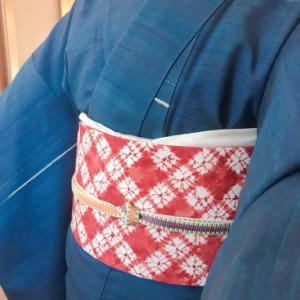 藍染紬のコーディネート