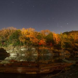 柴山沼と並ぶ月・惑星&長瀞の紅葉と星空