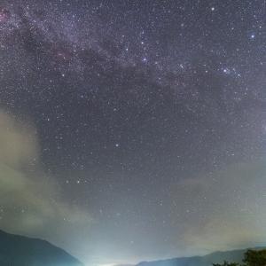 ペルセウス流星群極大2日前・木崎湖の星空と流星