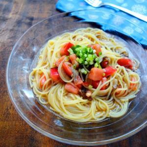 市販のもずく酢で簡単☆もずくとトマトの和風冷製パスタ