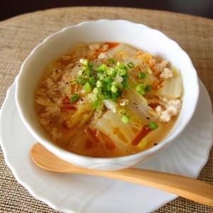 【簡単3分】豚挽肉と白菜のピリ辛春雨スープ【#体ポカポカ #3分レシピ】