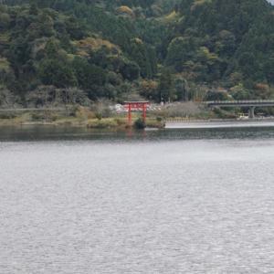 静かな湖畔に浮かぶような鳥居。千葉の湖、亀山湖