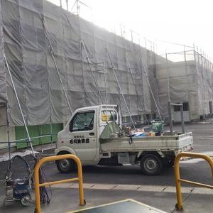 茶工場の外壁塗装始まる