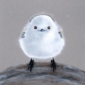 【#毎日一絵チャレンジ】#アクリル画 #萌獣「銀空の真目鳥(#しんめとり)/シマエナガ ver.2.2」#メイキング #白銀の鳥展