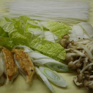 餃子と野菜のスープ、マロニー入り