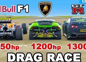 ランボルギーニウラカンvsGT-RvsレッドブルFIのドラッグレースはどれが一番速いか