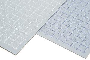 プラ=プレート グレー 目盛付き 厚さ0.8mm 目盛印刷:ホワイト、プラ=プレート グレー 目盛付き 厚さ0.8mm 目盛印刷:ブルー、2020年2月上旬発売
