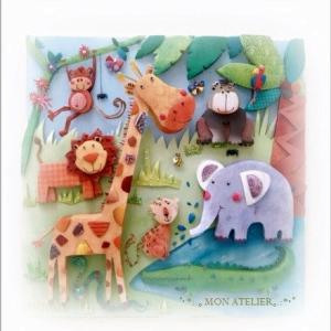 可愛いジャングルの動物たち